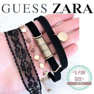 * ZARA & GUESS chokers bundle (black&gold)